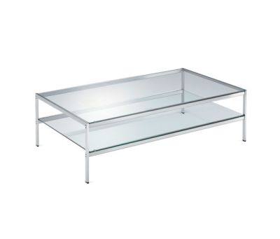 Sanzeno 680/2 Small Table Nickel-plated Frame, Clear Glass Top, 80 x 138