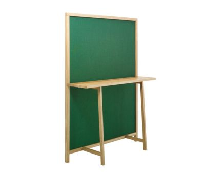 Shoji 715 Screen with Console-shelf Green Fabric, Oak Frame