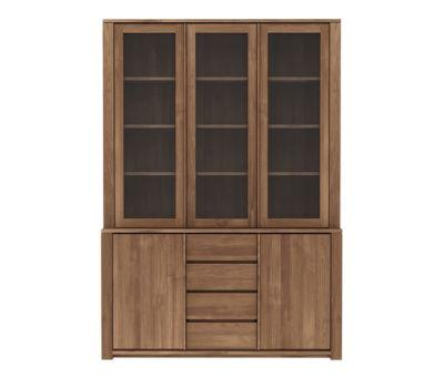 Teak Lodge cupboard - 3 glass doors - 2 doors - 3 drawers