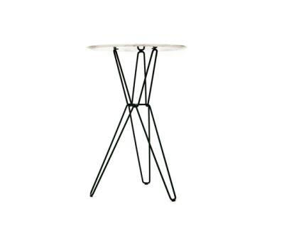 Tio Circular Bar Table Marble  Ø:75 H:110 cm Marble White Top, Black Base