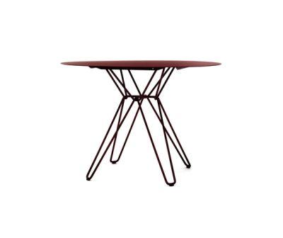Tio Circular Dining Table Metal Ø:100 H:72 cm Wine Red - Metal