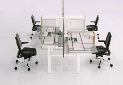 X-Ray Four-seat office desk by Ergolain