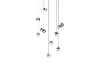 14.11 Square Pendant Chandelier Amber, LED, Wet