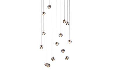 14.14 Round Pendant Chandelier Amber, LED, Wet