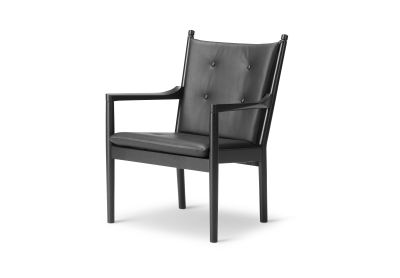 1788 Lounge Chair With Buttons, Oak black lacquered, Leather 47 White