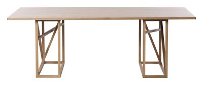 1x1 Trestle - Dining Table Oak/Powder Linoleum Top