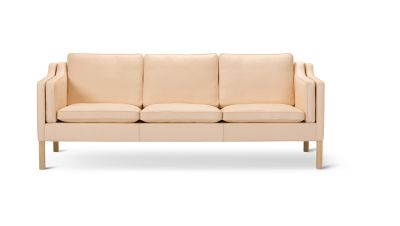 2213 Sofa - 3 Seater Oak no finish, Leather 75 Cognac