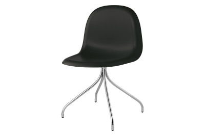 Gubi 3D Swivel Base Dining Chair - Unupholstered Gubi Wood American Walnut, Gubi Metal Black
