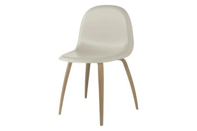 Gubi 3D Wood Base Dining Chair - Unupholstered Gubi HiRek Moon Grey, Gubi Wood Oak