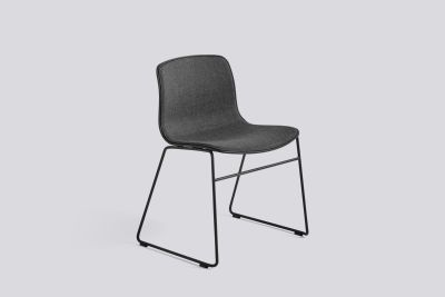 About A Chair AAC08 with front upholstery Leather Silk SIL0197 Cream, White, Stainless Steel