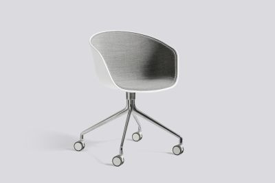 About A Chair AAC24 with front upholstery Leather Silk SIL0197 Cream, White, Polished Aluminium