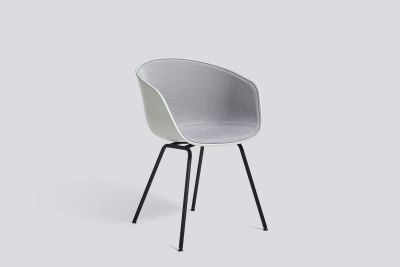 About A Chair AAC26 with front upholstery Leather Silk SIL0197 Cream, White, Green Powder coated Steel