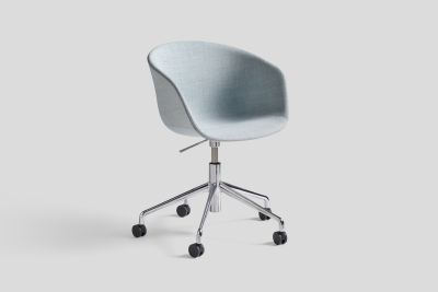 About A Chair with Gaslift AAC53 Leather Silk SIL0197 Cream, Polished Aluminium Base