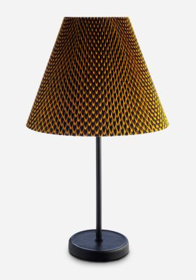 Accordion Lamp Shade & Cast Table Fish Scale Fabric by Vlisco