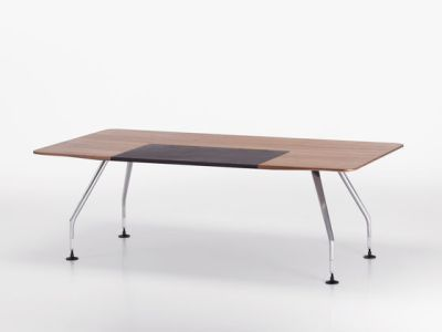 Ad Hoc Solitaires Meeting Rectangular Table Melamine Soft Light, Aluminium powder-coated soft light