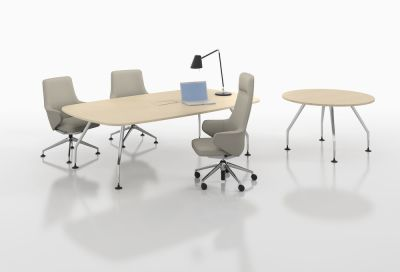 Ad Hoc Solitaires Meeting Round Table Melamine soft light, Aluminium powder-coated soft light, Without outlets