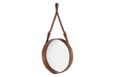 Adnet Circular Mirror Gubi Leather Tan, Large