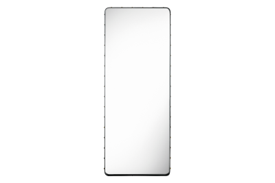 Adnet Rectangular Mirror Gubi Leather Black, Large