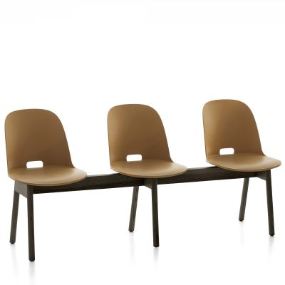Alfi 3 Seater Bench, High Back Sand, Dark Stained Ash Frame