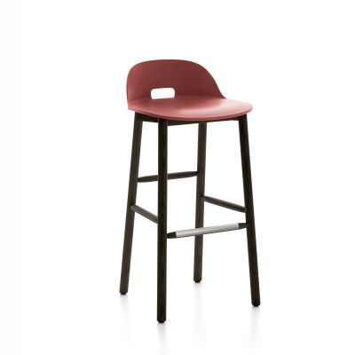Alfi Barstool, Low Back Red, Dark Stained Ash Frame