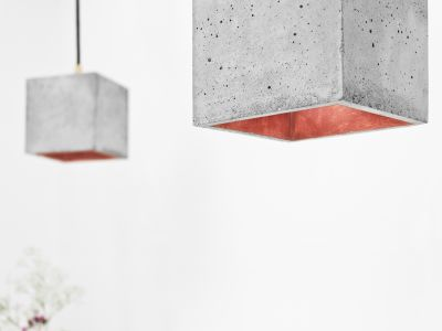 [B1] Pendant Light Cubic Light Grey Concrete, Copper Plating