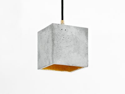 [B1] Pendant Light Cubic Light Grey Concrete, Gold Plating