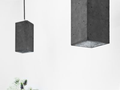 [B2] Pendant Light Rectangular Dark Grey Concrete, Silver Plating