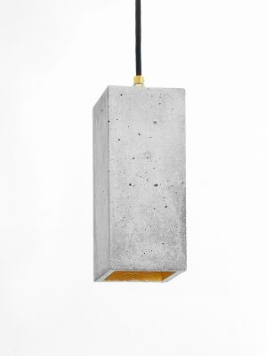 [B2] Pendant Light Rectangular Light Grey Concrete, Gold Plating
