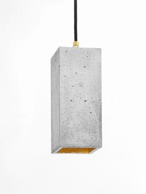 [B2] Pendant Light Rectangular Light Grey Concrete, Gold Plating