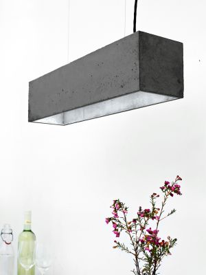 [B4] Pendant Light Dark Grey Concrete, Silver Plating
