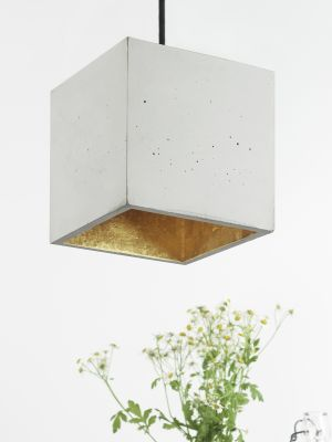 [B5] Pendant Light Cubic Big Light Grey Concrete, Gold Plating