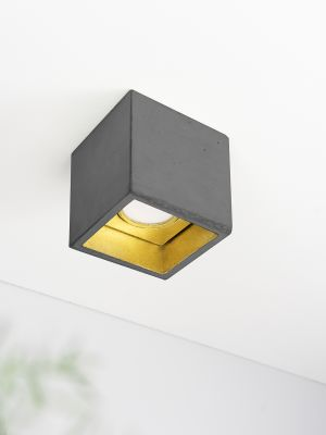 [B7] Ceiling Spot Cubic Dark Grey Concrete, Gold Plating