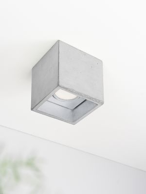 [B7] Ceiling Spot Cubic Light Grey Concrete, Silver Plating