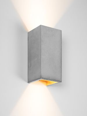 [B8] Wall Light Rectangular Light Grey Concrete, Gold Plating