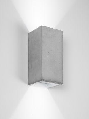 [B8] Wall Light Rectangular Light Grey Concrete, Silver Plating