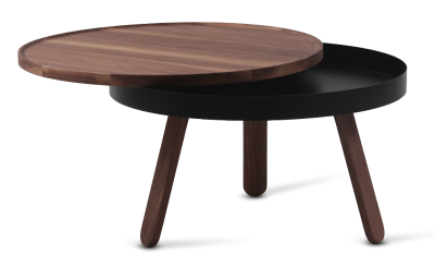 Batea M - Coffee table with storage Walnut & Black