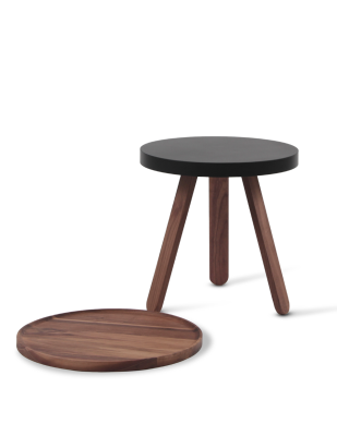 Batea S - Tray table Walnut & Black