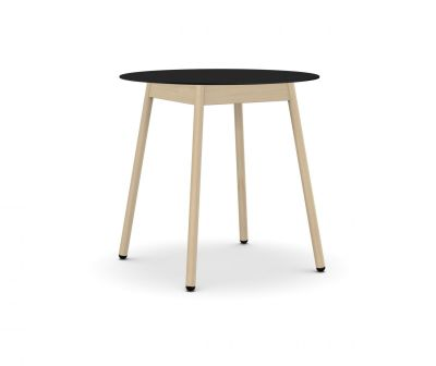 BCN Round Dining Table - 4 Legs Solid beech, Black laminate, H100 x D100