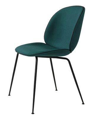 Beetle Dining Chair - Conic Base - Fully Upholstered Leather Silk SIL7008 Purple, Frame Black-Chrome, Matching Fabric