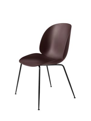 Beetle Dining Chair - Conic Base  Plastic Dark Pink, Frame Matt Black