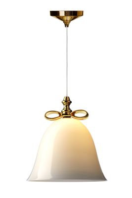 Bell Pendant Light Smoke Shade, Golden Bow, Large