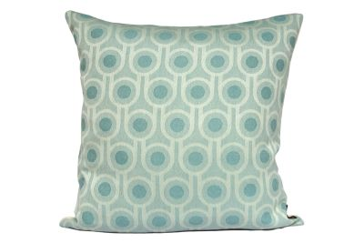 Benedict Square Cushion Blue, Small Repeat Pattern, Square