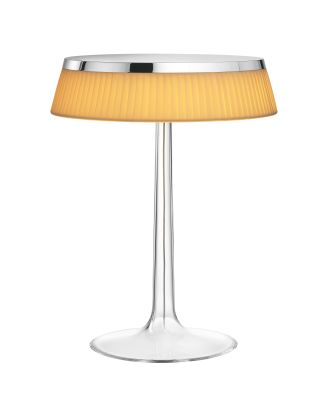 Bon Jour T Table Lamp Chrome Top, Fabric Shade
