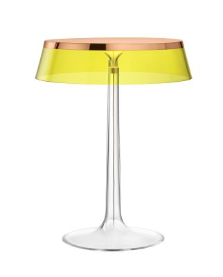 Bon Jour T Table Lamp Copper Top, Yellow Shade