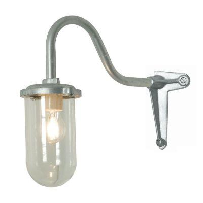 Bracket Wall Light, 100W, Corner, Swan Neck 7672 Galvanised silver, Clear glass