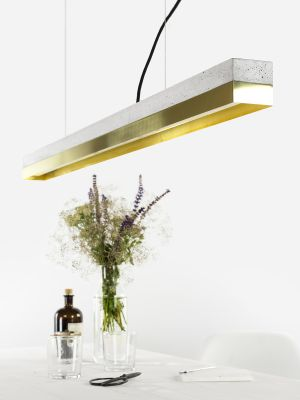 [C1] BRASS - Dimmable LED - Concrete & Brass Pendant Light Dimmable, Light Grey Concrete, Brass