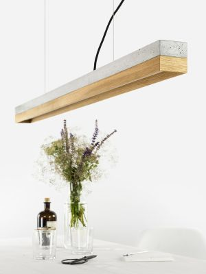 [C1] OAK - Dimmable LED - Concrete & Oak Pendant Light Dimmable, Light Grey Concrete, Oak