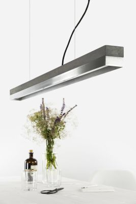 [C1] STAINLESS STEEL - Dimmable LED - Concrete & Stainless Steel Pendant Light Dimmable, Dark Grey Concrete, Stainless Steel