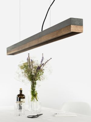 [C1] WALNUT - Dimmable LED - Concrete & Walnut Pendant Light Non-dimmable, Dark Grey Concrete, Walnut