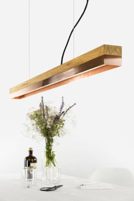 [C1o] COPPER - Dimmable LED - Oak & Copper Pendant Light Dimmable